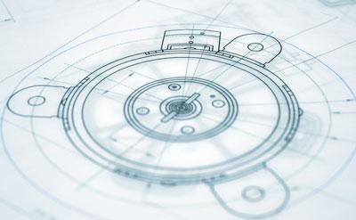 Ein Blueprint eines Maschinenbau Bauteils