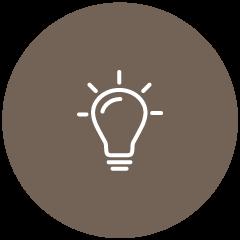 Wissen durch Erfahrung Icon -  Eine Glühbirne, die leuchtet